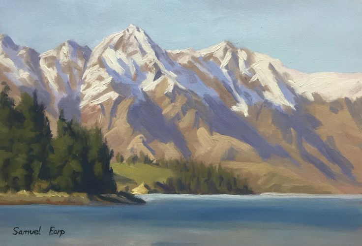 'The Remarkables, Queenstown', painted en plein air, 225mm X 320mm, oil on canvas