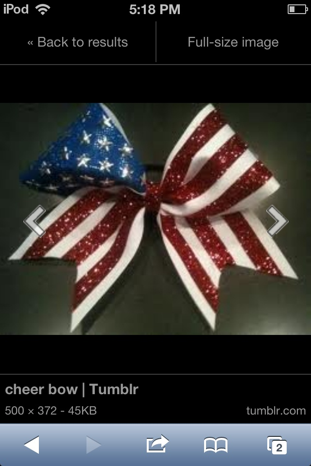 American flag cheer bow... YES YES YES exactly what I'm looking for-DB