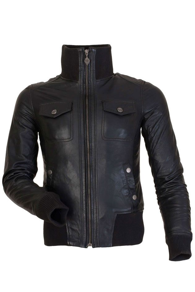 SKYRIM- BLACK LEATHER BOMBER JACKET LADIES Was £215.00  Now only £133.00–£148.00 on SALE