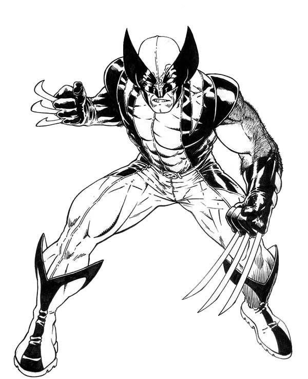 Furious Wolverine X Men Coloring Page Superhero Coloring