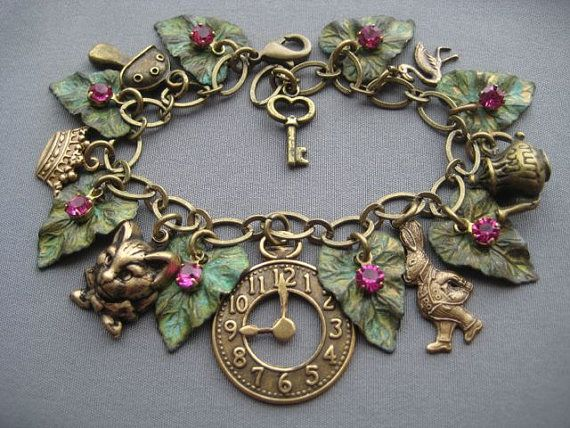Alice in Wonderland Charm Bracelet  Alice by SilverTrumpetJewelry, $57.00