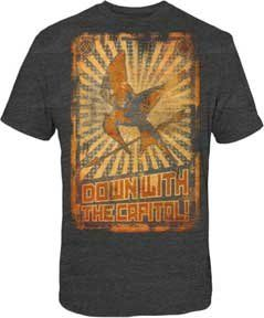 The Hunger Games - Down W/Capitol Poster Adult T-Shirt In Heather Charcoal Size: Large Color: Heat @ niftywarehouse.com