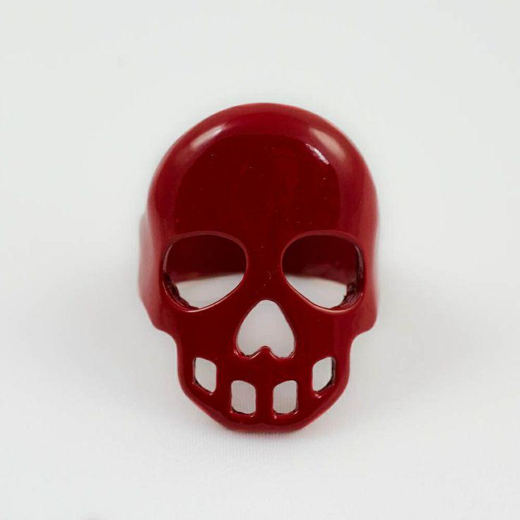 Bague tête de mort métal rouge ou noire
