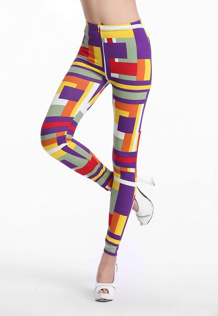 Colorful Tetragonum Legs-shaping Fashion Leggings