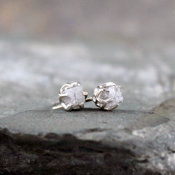 1 Carat Raw Diamond Earrings - Sterling Silver Filigree Inspired - Stud Earring - April Birthstone - Uncut Gemstone - Conflict Free Diamonds on Etsy, $195.00