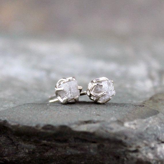 1 Carat Raw Diamond Earrings - Sterling Silver Filigree Inspired - Stud Earring - April Birthstone - Uncut Gemstone - Conflict Free Diamonds on Etsy, $195.00