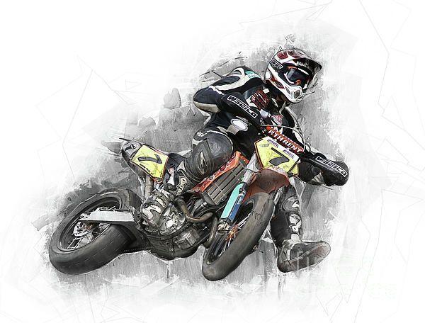 Motocross Art Dirtbike Rider By Diana Van Tankeren Motocross