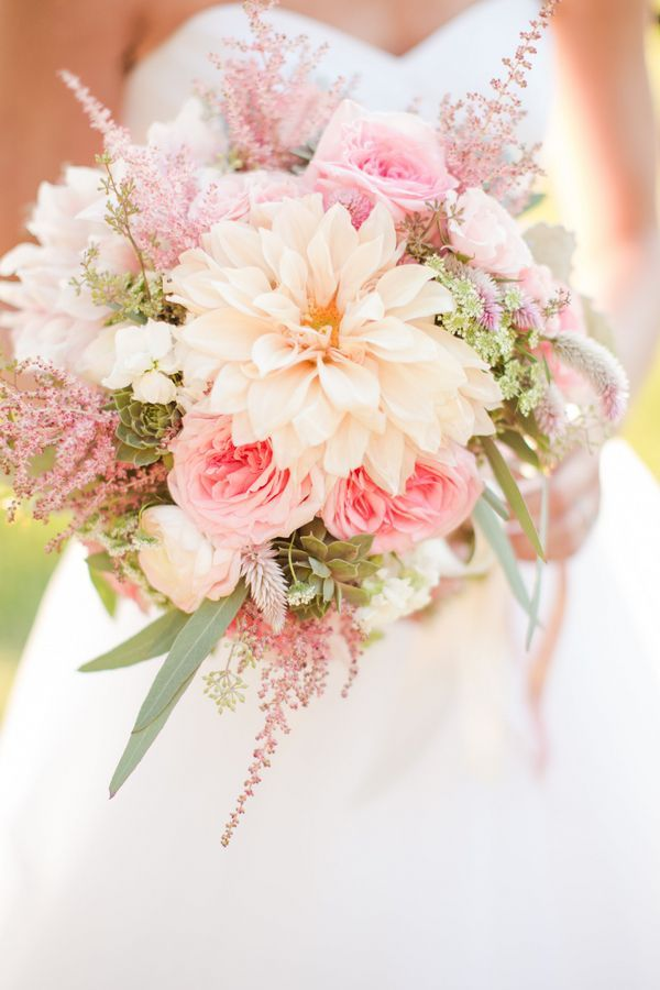 Beautiful dahlia and garden rose bouquet with astilbe and other loose blooms. Perfect for a summer/fall wedding!