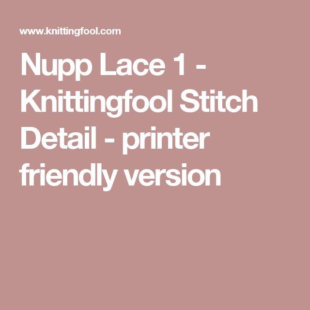 Nupp Lace 1 - Knittingfool Stitch Detail - printer friendly version