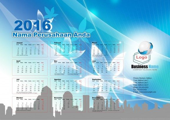 Calendar 2016 - Free Download Vector PDF JPG - Design_03_Arcs