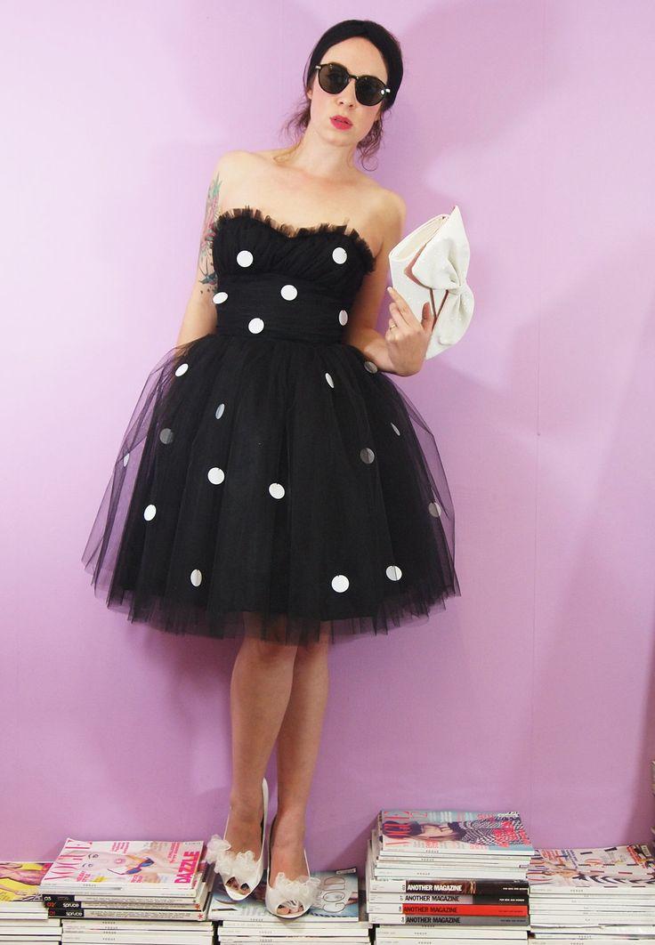 Black Tulle Polka Dot Prom Dress - Made to Order. £350.00, via Etsy.