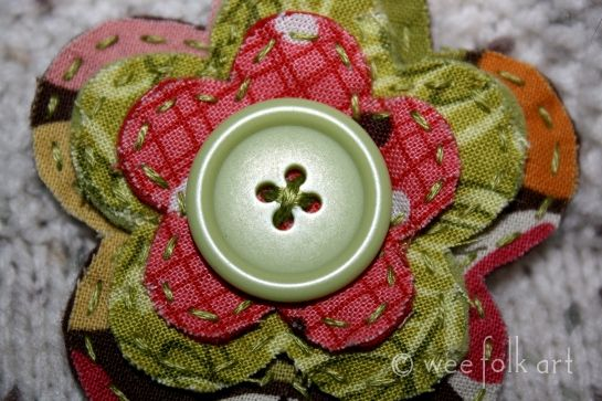 Frayed Fabric Flowers and a Button....make something plain look beautiful with one or more of these!