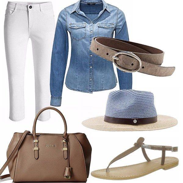 Il look impeccabile, di chi può indossare dei pantaloni bianchi senza temere. Personalmente lo trovo elegante e bellissimo, specie nei particolari del sandalo in pendant con cinta e borsa. Il cappello richiama sia l'azzurro che il color sabbia ed è il tocco di classe all'outfit.
