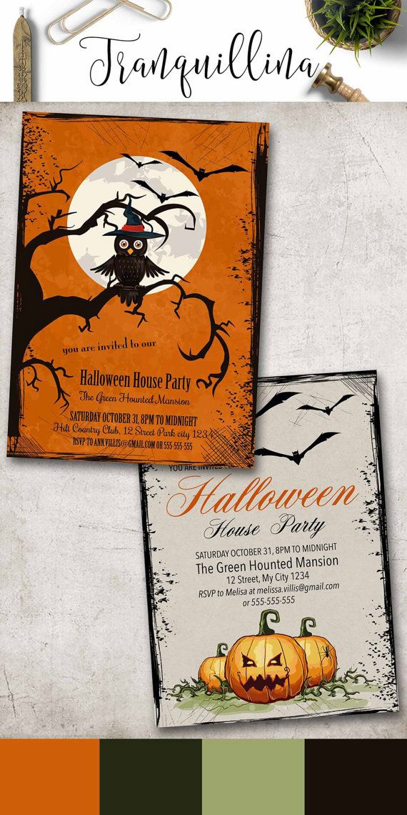 Halloween Party Invitation Printable, Halloween Invitation, Owl Halloween Invitation, Kids Halloween Invitation, Digital File. tranquillina.etsy.com