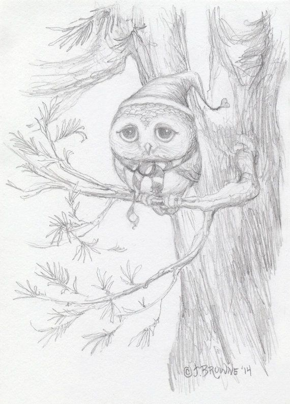 Little Hooter Owl with Hat and Scarf Original Drawing