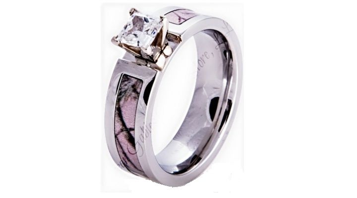 Camo wedding rings pink camo wedding rings with real diamonds