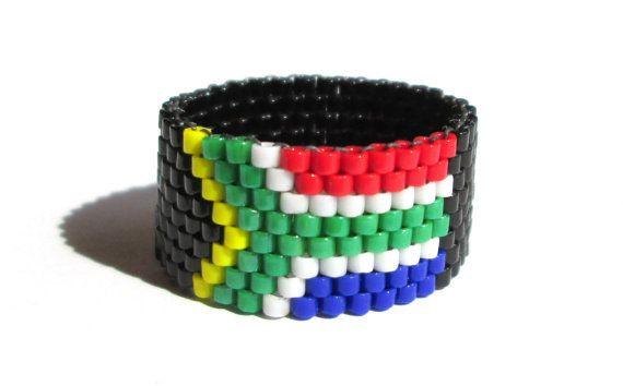 Südafrikanische Flagge Bead Ring Süd Afrika von ElephantBeads