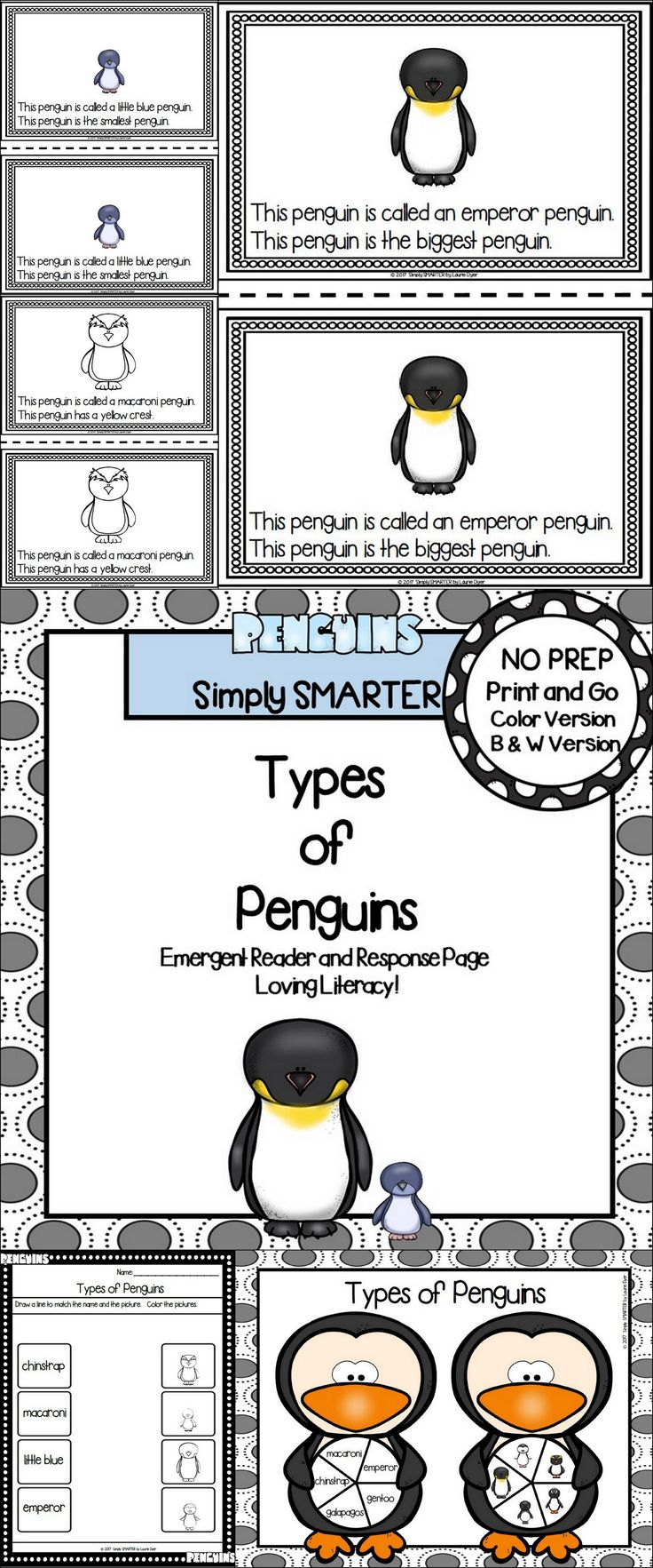 Are you looking for a NO PREP reading activity for preschool, kindergarten, or first grade? Then use these penguin activities for guided reading, shared reading, independent reading, science, or homework. Children can choose a colored version or black and white reader. The reader contains two sentences on each page and informs children about different types of penguins. Children will reinforce what they read by completing the response page and by playing the board game.