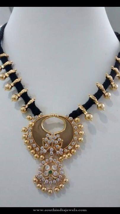 Black Gold Dori Necklace Designs, Gold Black Dori Necklace Models, Latest Gold Dori Necklace Designs.