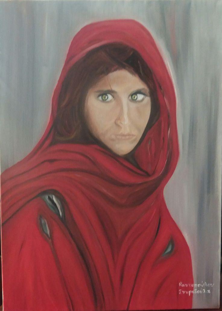 Afgan girl - Oil on canvas by Litsa Raftopoulou