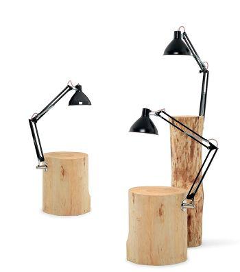 Tavolino in legno massello completo di lampada Piantama - Mogg