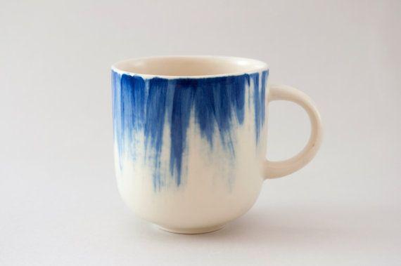 Handmade Ceramic mug with blue brushstrokes H: 3 by YuliaTsukerman