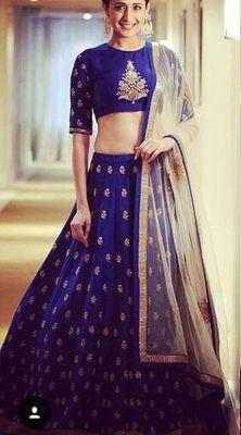 Blue Embroidery Banglory lehenga choli