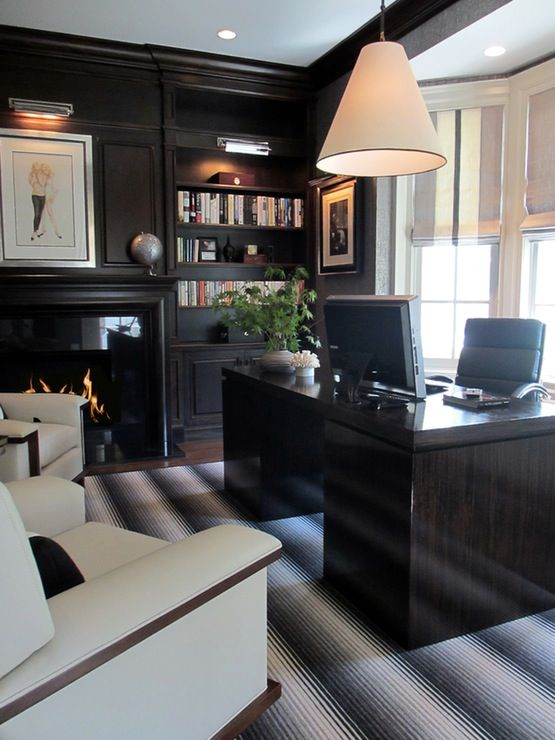 Cream and Black Man's Home Office with Striped Accents  Home Office  TraditionalNeoclassical  Transitional  Contemporary by SB Long Interiors