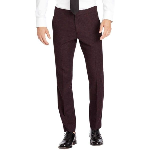 Men's Bonobos Flat Front Wool & Cashmere Tuxedo Trousers (19.025 RUB) ❤ liked on Polyvore featuring men's fashion, men's clothing, men's pants, men's dress pants, burgundy, mens striped pants, mens burgundy dress pants, mens burgundy pants, mens cashmere pants and mens wool dress pants
