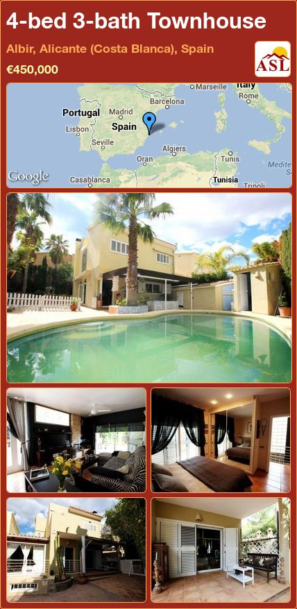 4-bed 3-bath Townhouse in Albir, Alicante (Costa Blanca), Spain ►€450,000 #PropertyForSaleInSpain