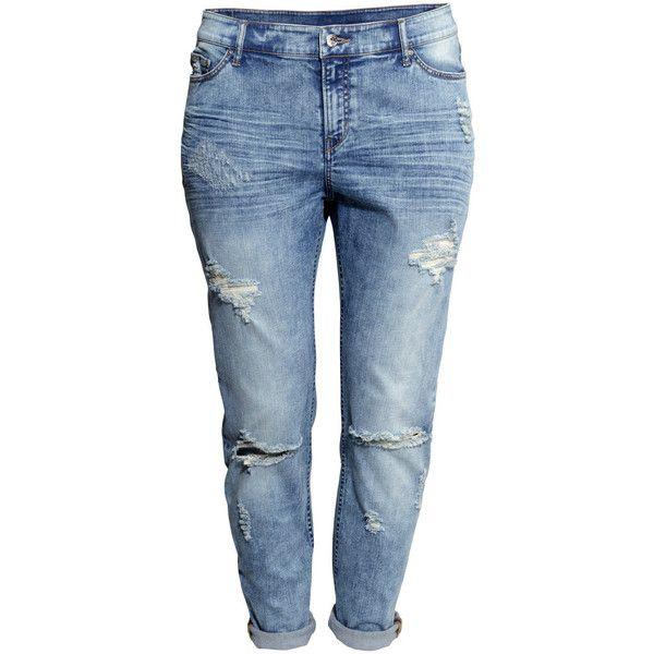 H&M+ Girlfriend Jeans ($30) ❤ liked on Polyvore featuring jeans, pants, bottoms, calças, plus size, denim blue, h&m jeans, womens plus size jeans, low rise jeans and blue jeans