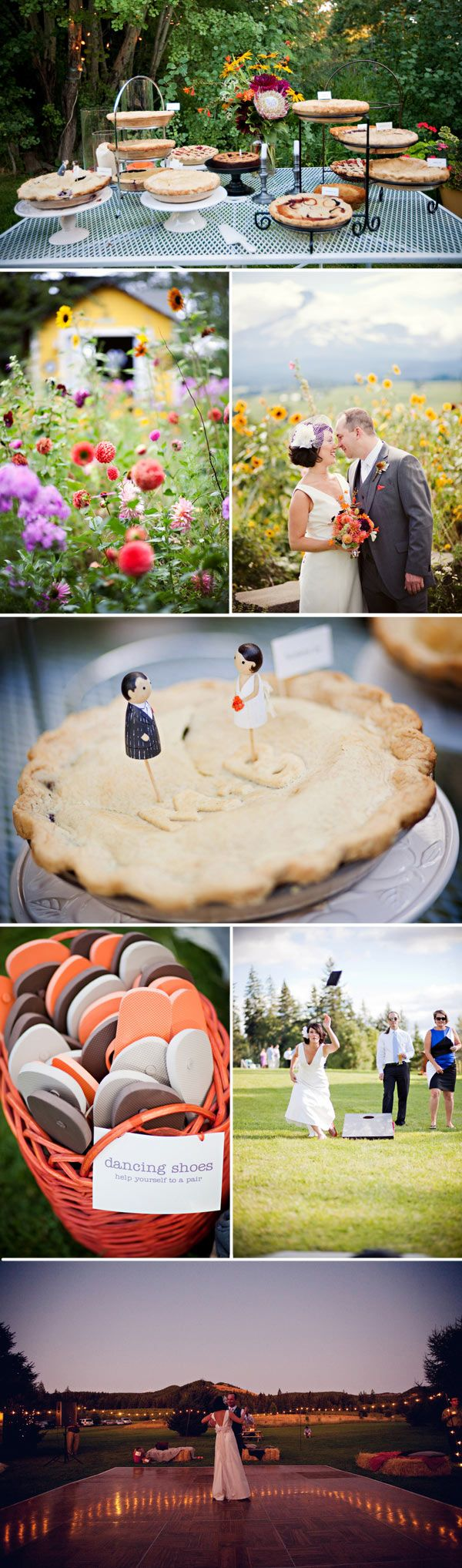 I love the idea of dancing shoes at a wedding but also pie instead of cake kind of nice.