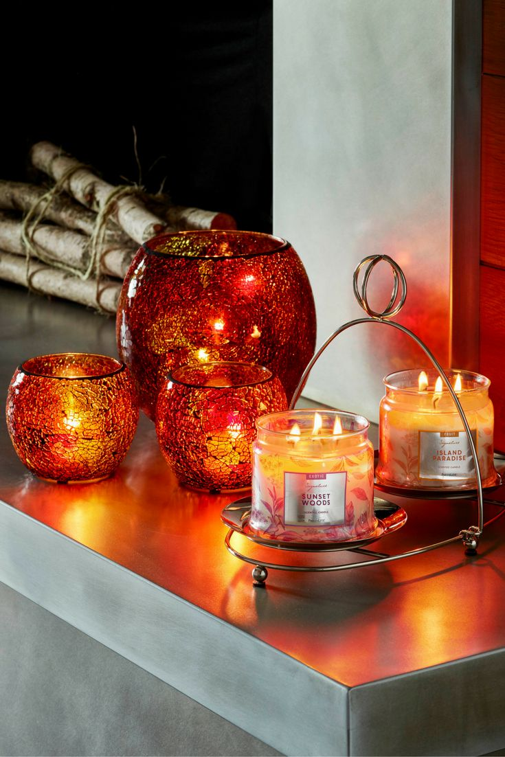 Sunset Jar Holders! Fill your home with the warm colors of falling leaves and the full-bodied fragrances of the harvest season.