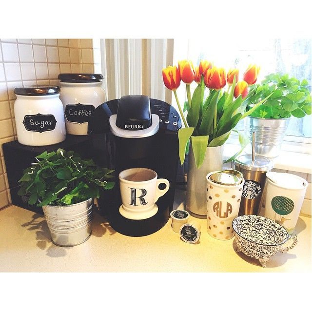 We are loving this Keurig coffee corner! What a beautiful way to enhance your kitchen. Get yourself a Keurig 2.0 Brewer to enjoy a cup of coffee, tea, hot cocoa, or more at the touch of a button. There are over 400 K-Cup pod beverage varieties to choose from! Photo by Instagram fan rayannlacasse.
