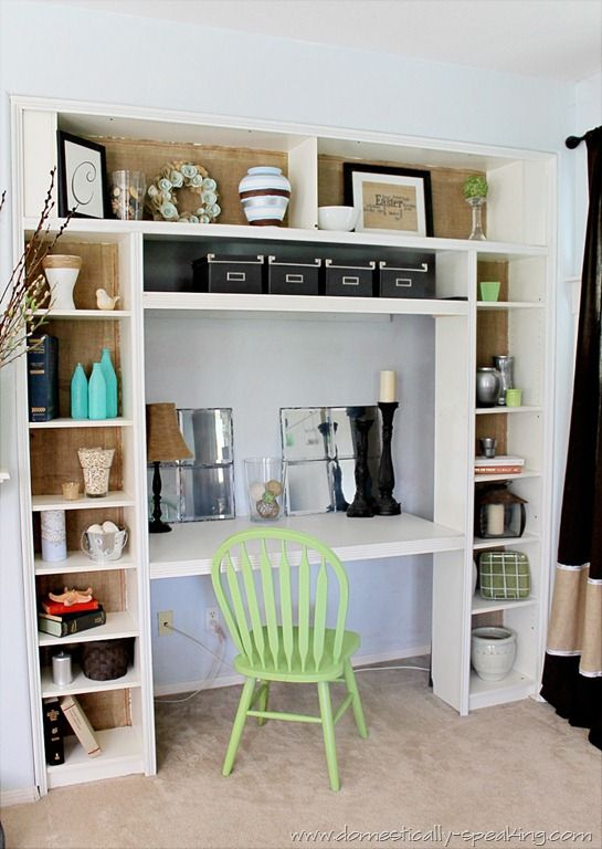Burlap bookshelves - an inexpensive way to deal with covering the contact paper on the shelves in my office?