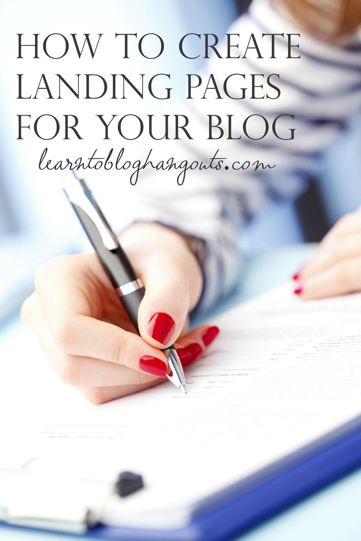 how to create landing pages for your blog