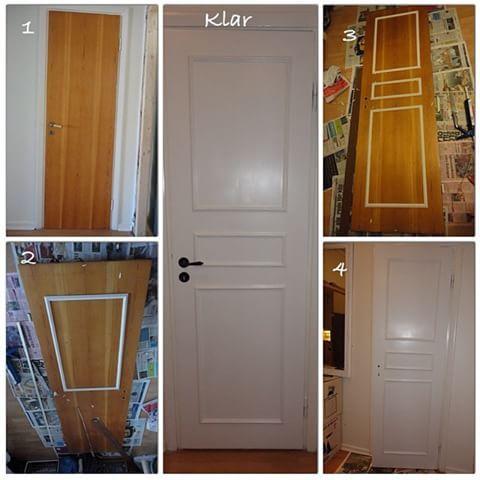 Så här gjorde jag om innerdörrarna i min förra lägenhet. Från typisk #50talsdörr till #spegeldörr med några lister och färg  #50tal #sekelskifte #dörr #dörrar #renoveradörr #måladörr #quickfix #föreefter #diy #innerdörr #innerdörrar
