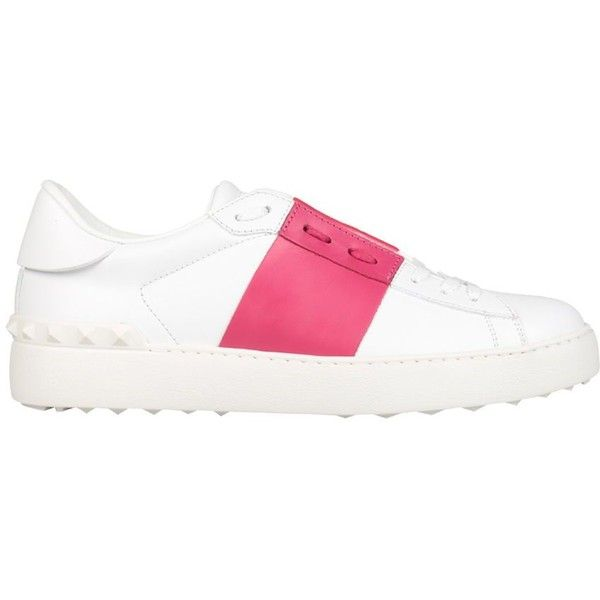 White Leather Open Sneakers ($455) ❤ liked on Polyvore featuring shoes, sneakers, fucsia, valentino trainers, leather shoes, rubber sole shoes, leather sneakers and white shoes