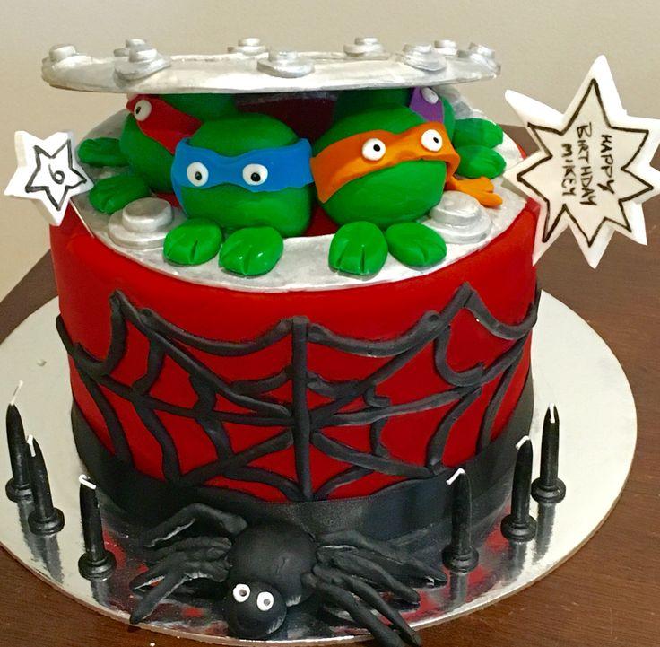 Spider-Man Ninja Turtle Cake
