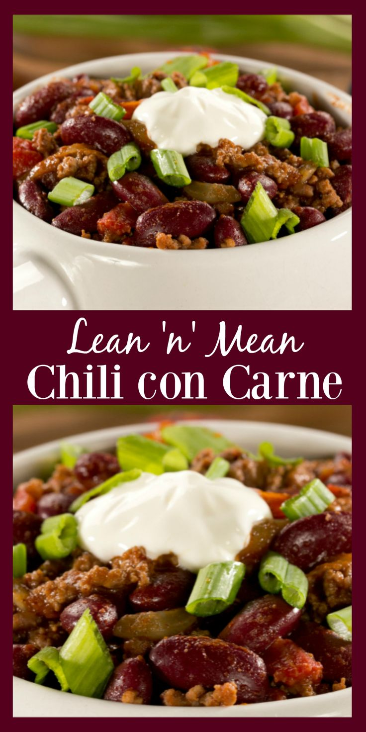 Packed with lean ground beef and diced tomatoes, our Lean 'n' Mean Chili con Carne is just what your fall chili pot should be filled with!