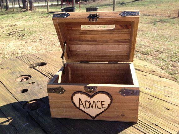 Wedding Advice Box - Wedding Chest - Wishing Well - Wedding Guest Notes - Rustic Wedding - Shabby Chic Wedding via Etsy