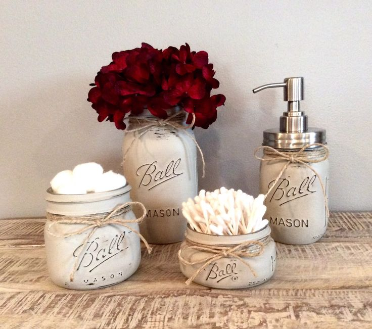 Mason Jar Bathroom Set, farmhouse bathroom, red bathroom decor, mason jar decor, rustic decor