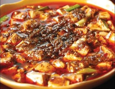 Ma Po Tofu (麻婆豆腐), from Szechuan province Ingredients: Tofu, ground beef, green onion, fermented black beans, garlic