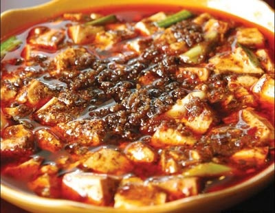 Ma Po Tofu (麻婆豆腐), from Szechuan province Ingredients: Tofu, ground beef, green onion, fermented black beans, garlic