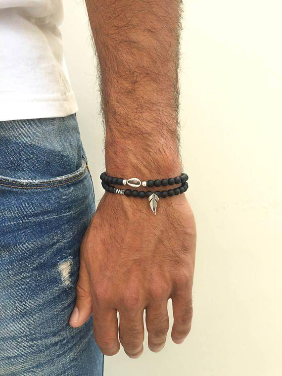 Men's Black Beaded Bracelets, Men's Bracelets, Black Bracelets Men, Leaf Bracelet, Shell Bracelet, Men's Jewelry, Made in Greece.