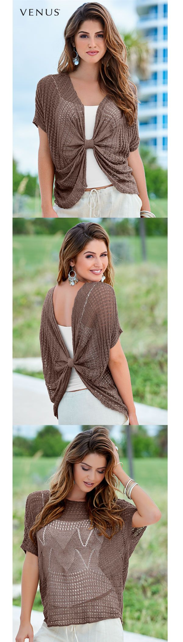 This is knot your average sweater! Wear it knotted at the front, knotted at the back or open. The style options are endless for this spring sensation.