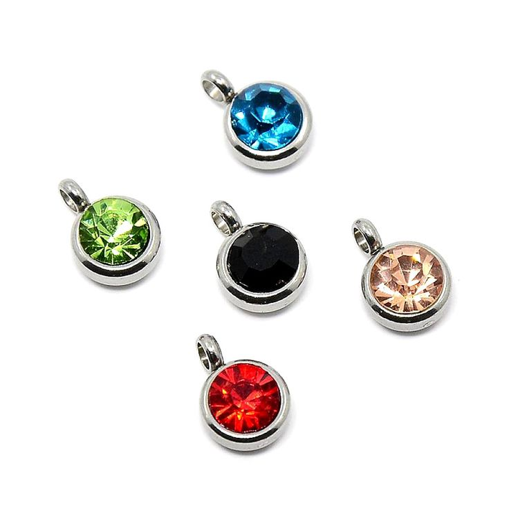 50pcs Trendy Original Color 304 Stainless Steel Grade A Rhinestone Flat Round Charm Pendants, Faceted, Mixed Color, 9x6.5x4mm