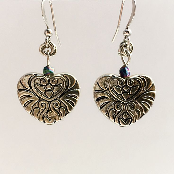 Embossed Heart and Maille Rosettes Earrings by VexedUpBoutique on Etsy