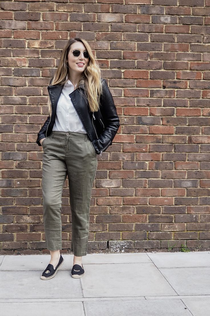 Green linen pants, white shirt, leather jacket, Ray Ban hexagonal sunglasses, Soludos espadrilles | Wolf & Stag