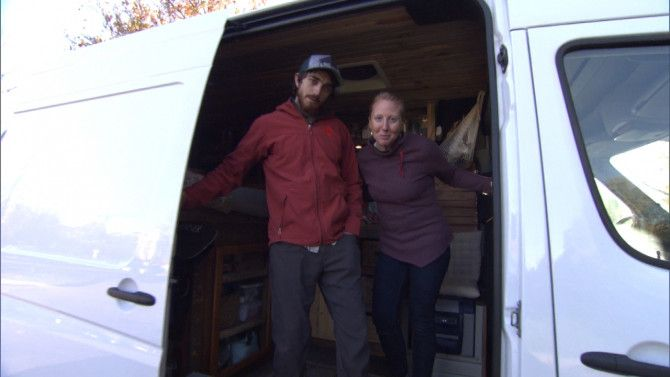 "An Idaho couple is part of a new trend that sees millennials increasingly spurning traditional homes to live in a decked-out van. Chelsea and Ryan Stevenson, of Boise, live in a 60-square-foot van that has running water, recessed lighting, and central heating. They both told Inside Edition that their families think their living situation is ""crazy."" By living in the vehicle, they have slashed their living expenses to the bone, paying a monthly van payment of less than $500."